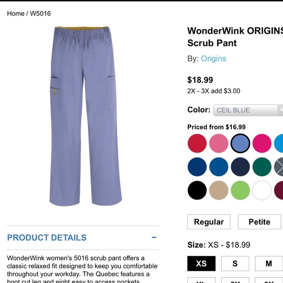 fe5cd5e0035 WonderWink Other | Origins Quebec Scrub Pant Xs Tall | Poshmark